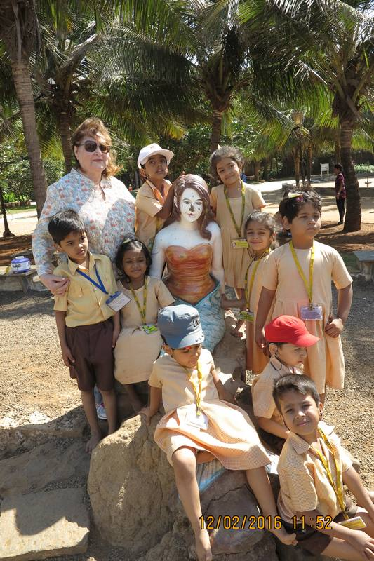 Children with mermaid at Mahindra Park