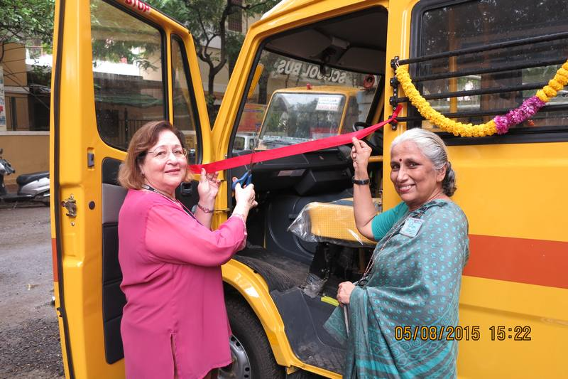 Mary Behlihomji and Sumitra at new school bus inauguration