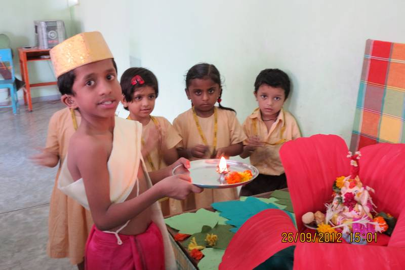 Little Prasad Chavan performing Ganesh Puja